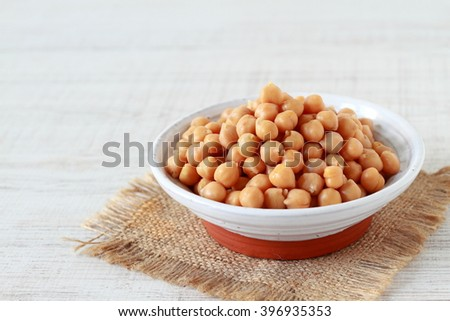 Chickpeas on white background