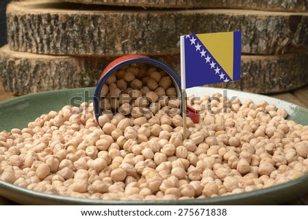 Chickpeas or Garbanzo Beans With Bosnia and Herzegovina Flag - stock photo