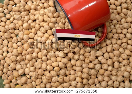 Chickpeas or Garbanzo Beans With Egypt Flag - stock photo