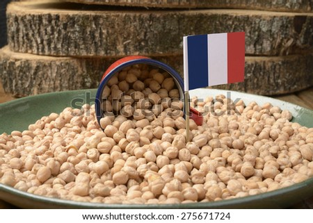 Chickpeas or Garbanzo Beans With France Flag - stock photo