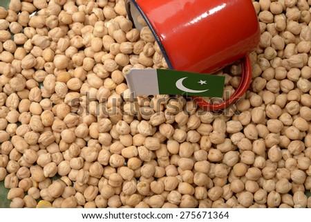 Chickpeas or Garbanzo Beans With Pakistan Flag - stock photo
