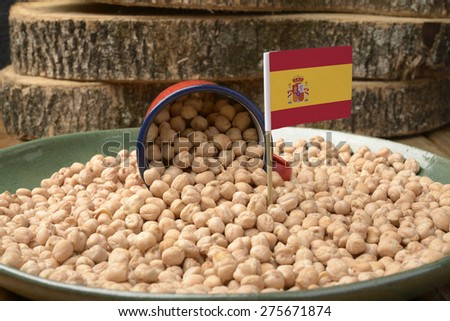 Chickpeas or Garbanzo Beans With Spain Flag - stock photo