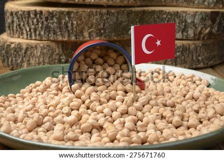 Chickpeas or Garbanzo Beans With Turkey Flag - stock photo