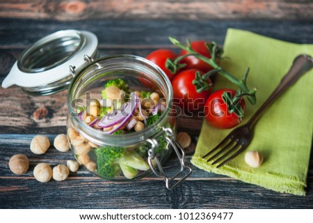 chickpeas salad in a glass jar