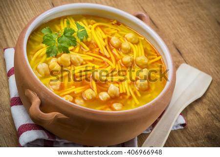 Chickpeas soup - stock photo