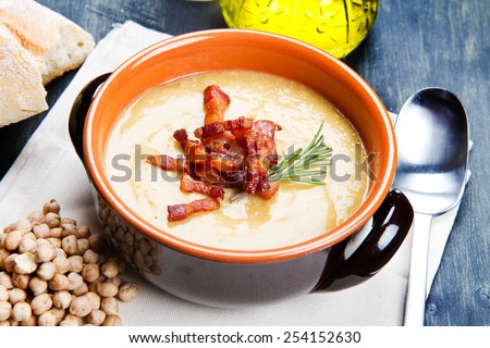 chickpeas soup on bowl  - stock photo