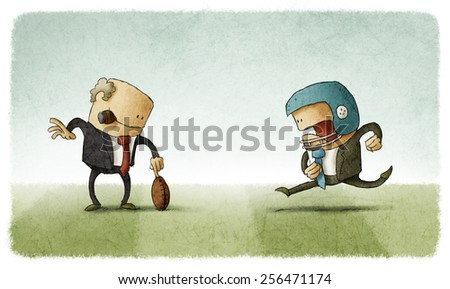 Chief help an employee to hit the ball - stock photo
