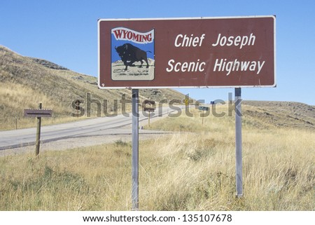 Chief Joseph Scenic Highway sign along a highway - stock photo