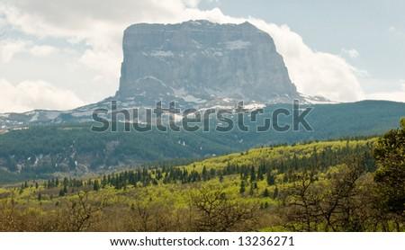 Chief Mountain, Glacier National Park, Montana on a hazy day - stock photo