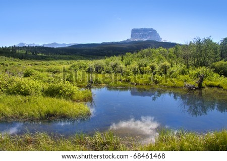 Chief mountain in Glacier national park Montana - stock photo