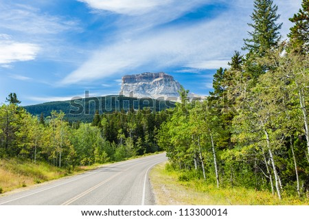 Chief Mountain,on the border between the US and Canada, Alberta - stock photo