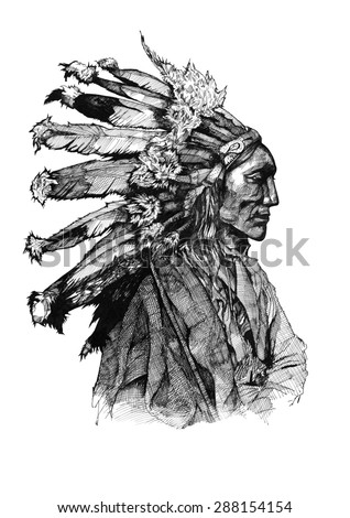 Chief native american ink American history old indian man brave warrior - stock photo