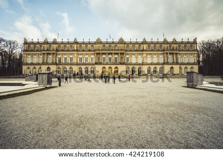 CHIEMSEE, GERMANY - MARCH 13: View of Herrenchiemsee palace on March 13, 2016 in Chiemsee, Germany. It was built between 1878 and 1885.