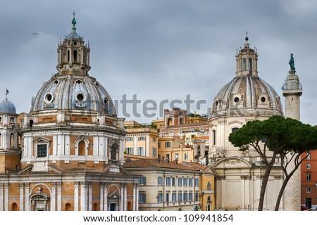 Chiesa del Santissimo Nome di Maria al Foro Traiano and Santa Maria di Loreto in Rome, Italy - stock photo