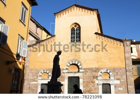 Chiesa di Salvatore Church and statue Lucca Italy