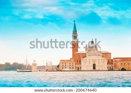 Chiesa di San Giorgio Maggiore and bell tower on the island in Venice, Italy - stock photo