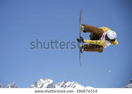 Chiesa in Valmalenco, IT - MAR 30:  Gron Petter compete in the Fis freestyle junior world championships 2014  Snowboard Slopestyle event in Chiesa Valmalenco, IT on March 30, 2014 - stock photo