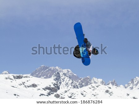 Chiesa in Valmalenco, IT - MAR 30:  Mamaev Anton compete in the Fis freestyle junior world championships 2014  Snowboard Slopestyle event in Chiesa Valmalenco, IT on March 30, 2014 - stock photo