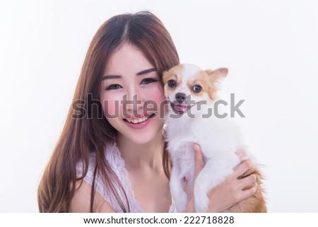 Chihuahua and Cute Asian Girl - stock photo