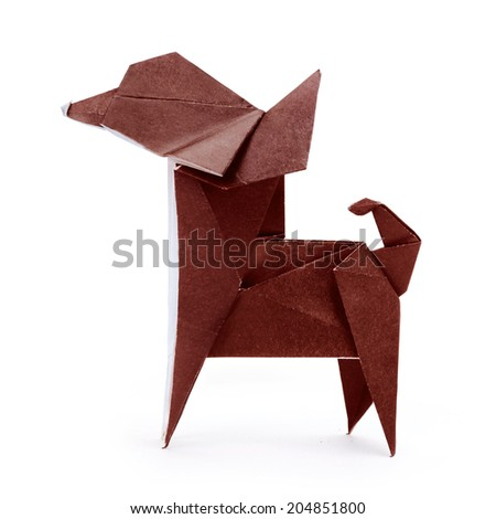 Chihuahua brown small origami paper dog on a white background - stock photo