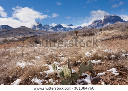 Chihuahuan desert snow and Chisos Mountains in Big Bend National Park, Texas, USA - stock photo