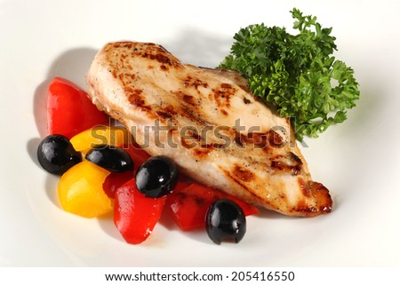 Chiken breast with vegetables - stock photo