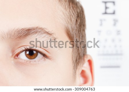 Child an ophthalmologist .Portrait of a boy.  Eye exams. Check Table view. Macro studio shoot full face