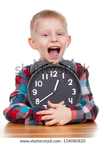 Child and clock, time concept - stock photo