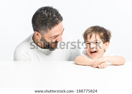 Child and Father with positive smile and showing happiness - stock photo