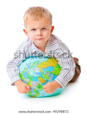 Child and globe. Isolated on white background