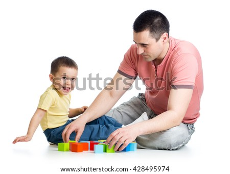 Child and his dad playing game together
