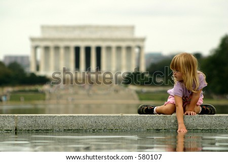 Child and Lincoln - stock photo
