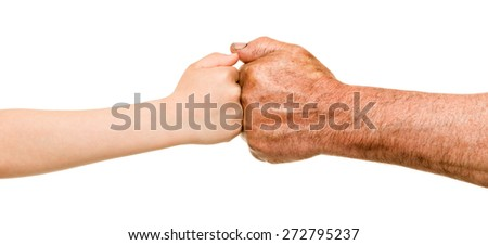 child and old man hands