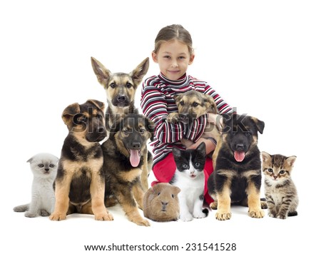 child and puppy - stock photo