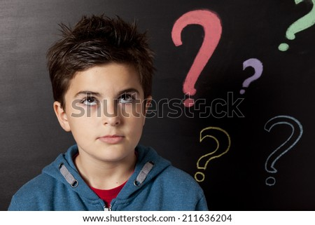 child and question mark - stock photo