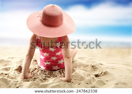 child and sun hat  - stock photo