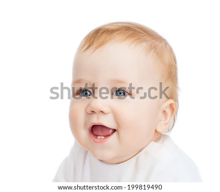 child and toddler concept - smiling little baby - stock photo