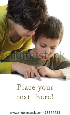 child and woman pointing at copy space below