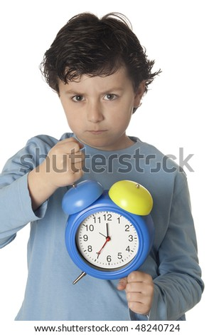 Child angry by wake up early isolated on white background