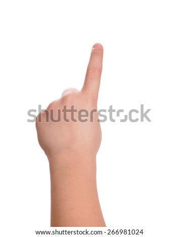 child arm is selecting with index finger isolated - stock photo