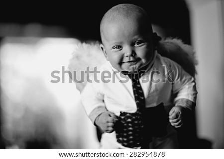 child baby black and white portrait - stock photo