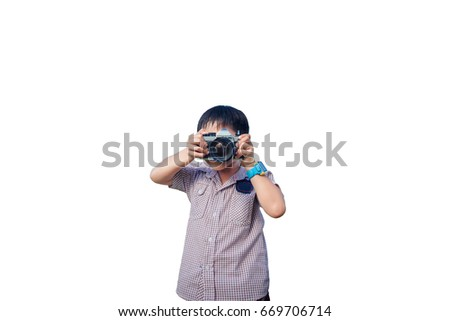 child,Baby boy with camera