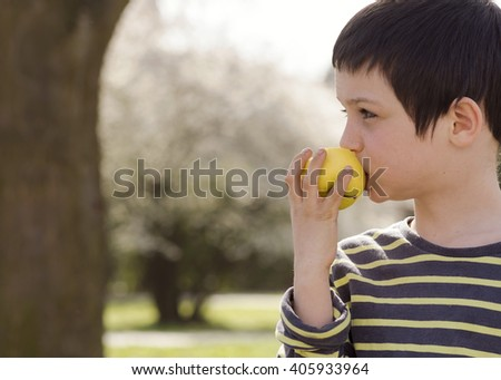 Child boy eating an apple outdoor, in a park or garden, profile portrait.  - stock photo