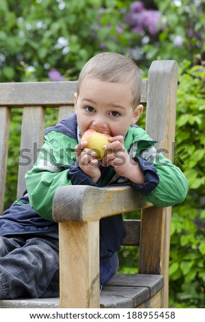 Child boy eating apple on a bench in park or garden.  - stock photo