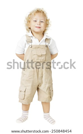 Child Boy Isolated Over White Background, Smiling Kid looking at camera, hands behind back