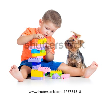 Child boy playing with building blocks toys. York terrier dog sitting near boy.