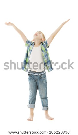 Child boy raise open hands up. Isolated white background. Open arms to put product here.  - stock photo