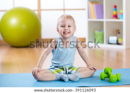 Child boy ready to fitness exercises