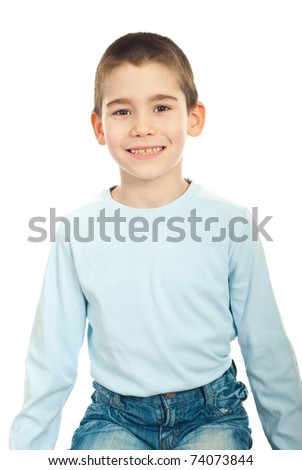 Child boy sitting on chair and showing his smile with new teeth over white background - stock photo