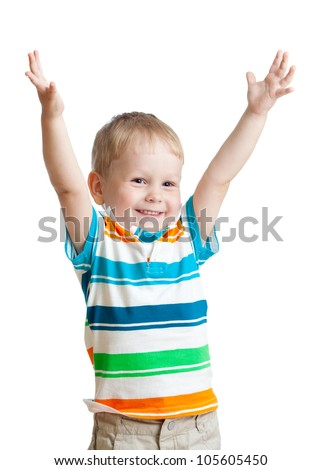 child boy with hands up isolated on white background - stock photo